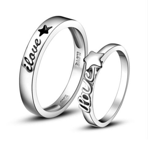 Personalized Name Promise Rings Set for Him and Her