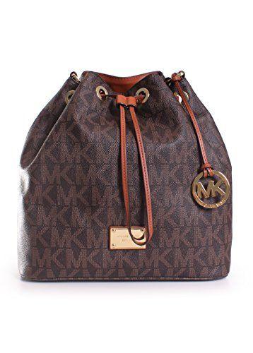 654c155872 MICHAEL Michael Kors Jules Large Drawstring Shoulder Bag in Signature Brown  - Handbag