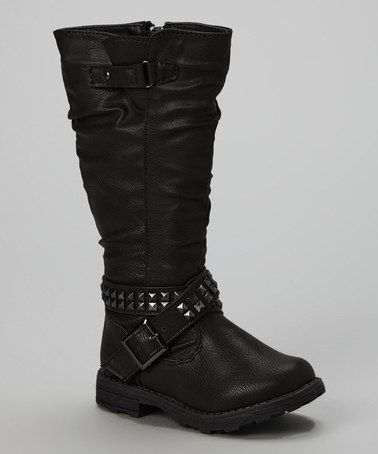 Another great find on #zulily! Black Square Stud Boot by Eddie Marc Kids #zulilyfinds