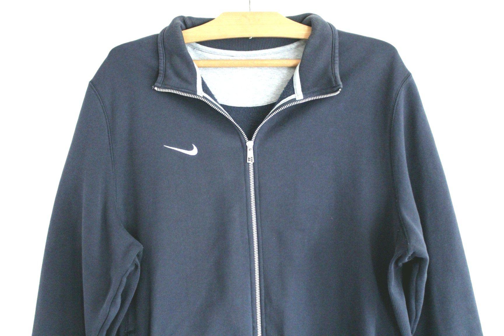 90s Nike Sweatshirt Vintage Jacket Blue Hip Hop Streetwear Zipped Jumper Nike Tennis Sport Running Sweater Size [ 1152 x 1728 Pixel ]