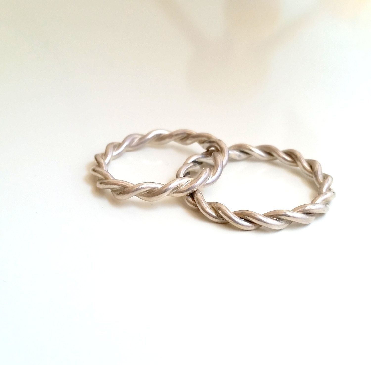 Matching wedding bands - Silver Tick Rope Ring- Thin Silver Twist ...