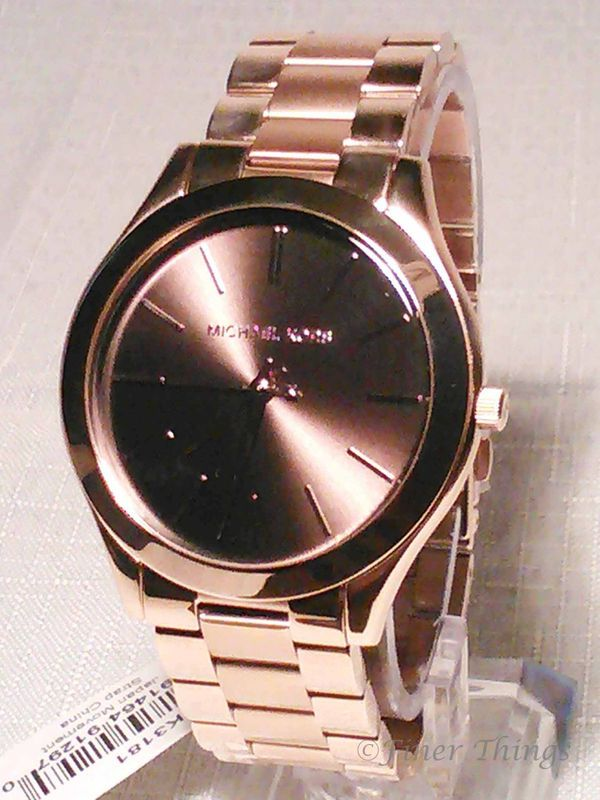 38e29882eb32f Michael Kors Slim Runway Rose Gold Tone Stainless Steel Womens Watch ...