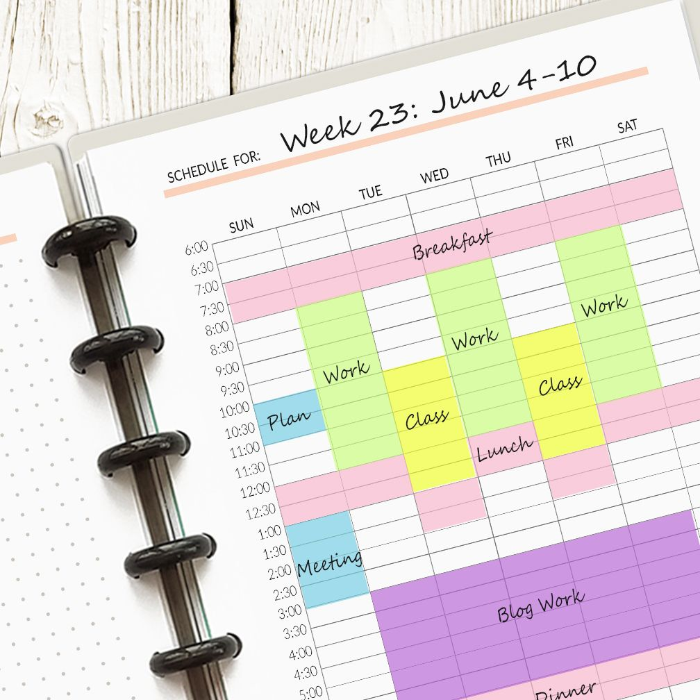 Printable Weekly Schedule   And  Pages Spreads  Digital