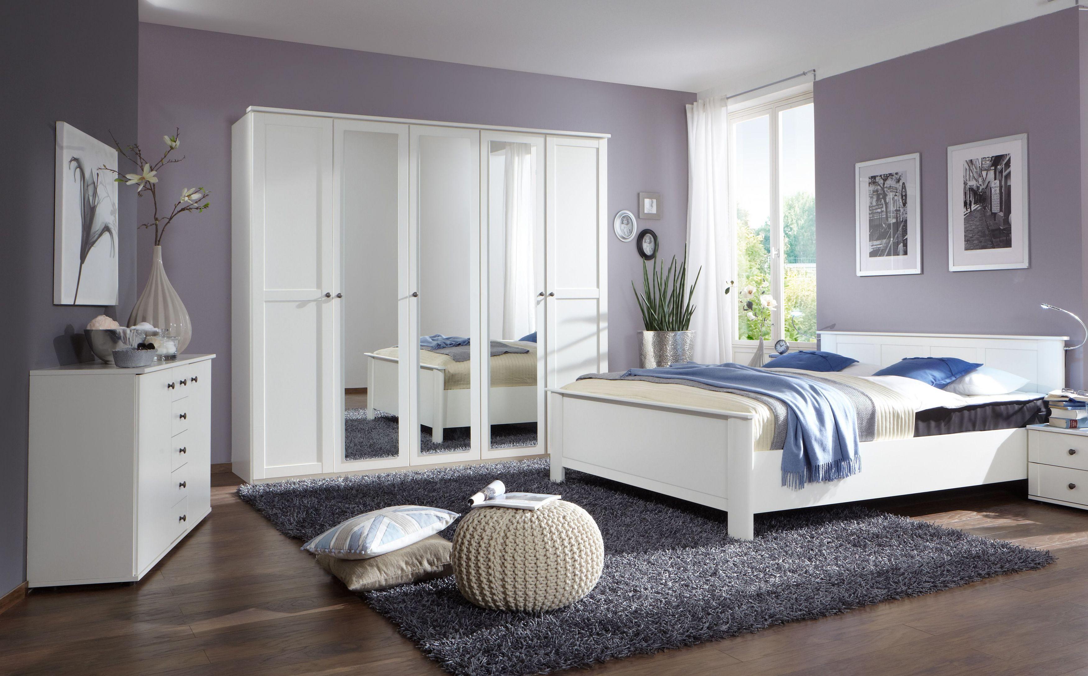 Schlafzimmer Mit Bett 180 X 200 Cm Alpinweiss Woody 132
