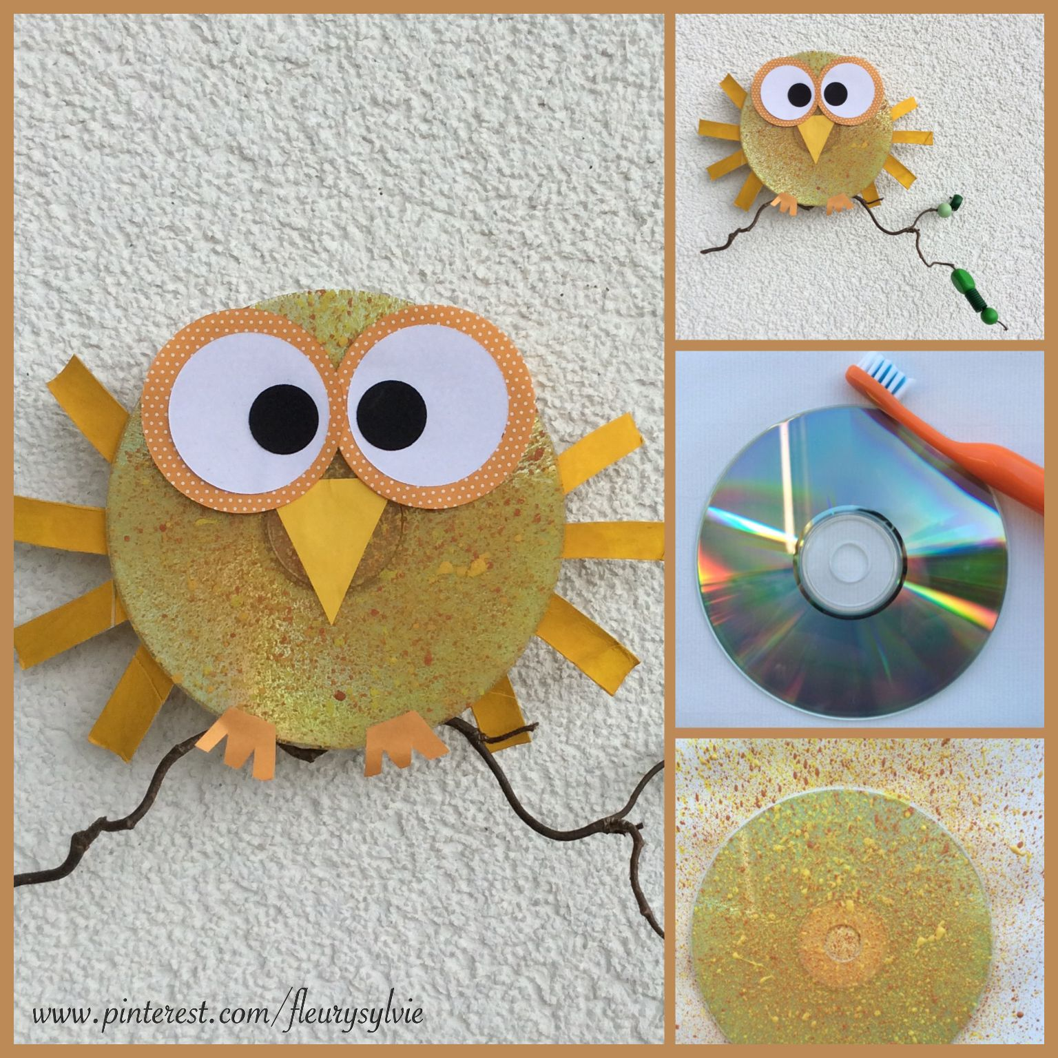 bricolage enfant un hibou avec un cd peint avec la technique de la brosse dent http. Black Bedroom Furniture Sets. Home Design Ideas