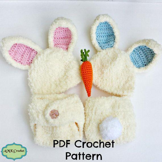 PDF Crochet Pattern - Newborn Fuzzy Bunny Hat and Diaper Cover ...
