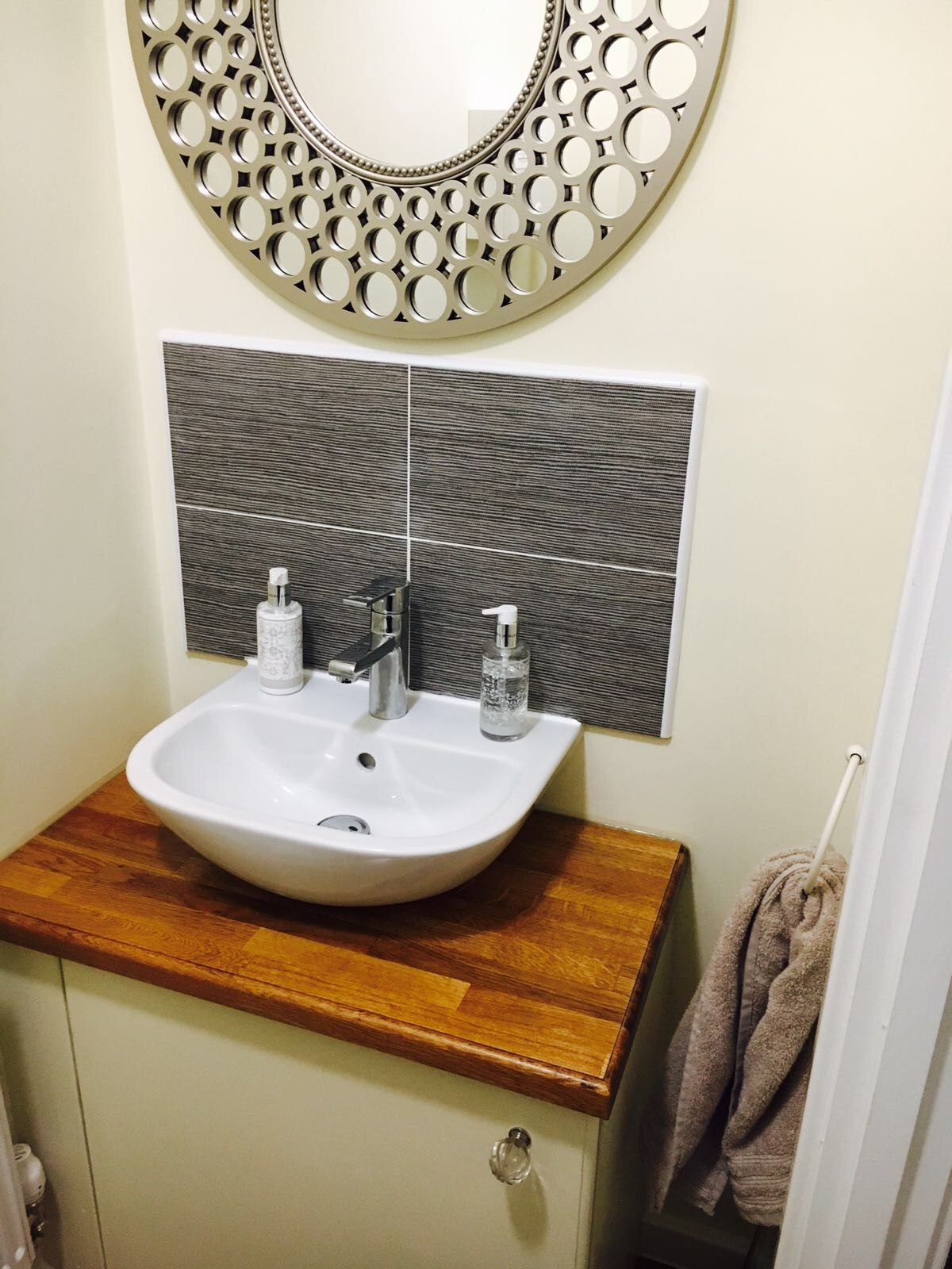Custom Made Vanity Unit In W/C. Currently Used As A Shoe Cupboard.