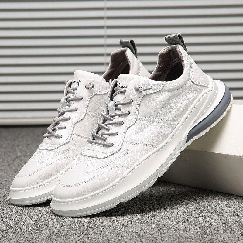 Swonco Zapatos De Cuero Genuino Zapatillas Blancas Vulcanizadas Para Hombre Primavera 202 Lace Up Heels Vans Old Skool Sneaker White Sneaker