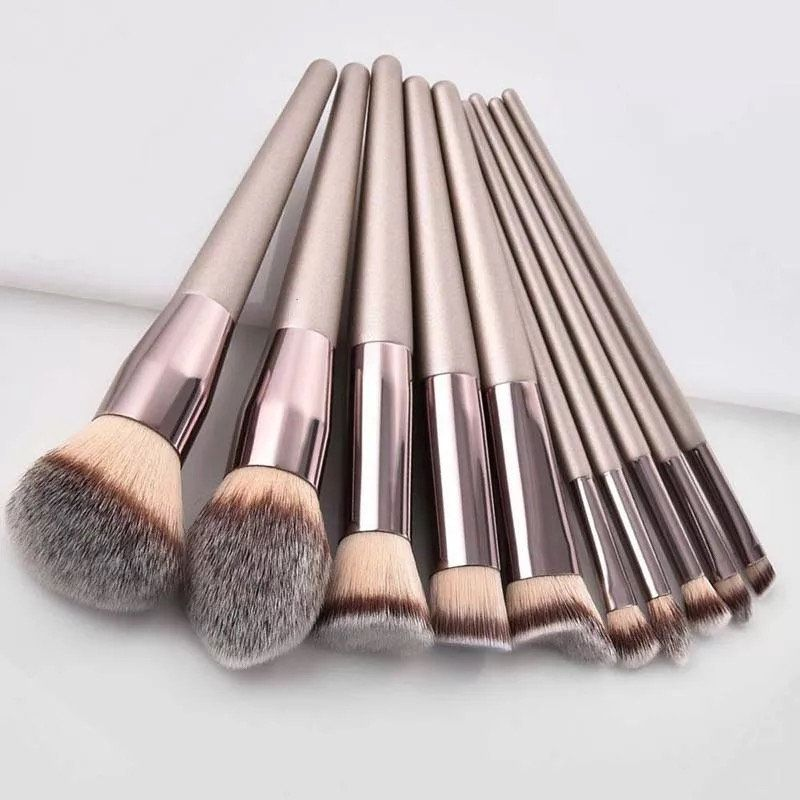 Photo of Luxury 10PCs Champagne Makeup Brushes Set
