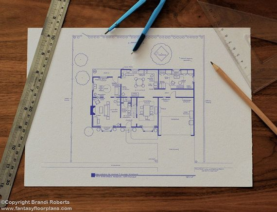 Simpsons House Floor Plan Blueprint Poster Art For Home Of Etsy Tv Show House House Layouts The Middle Tv Show