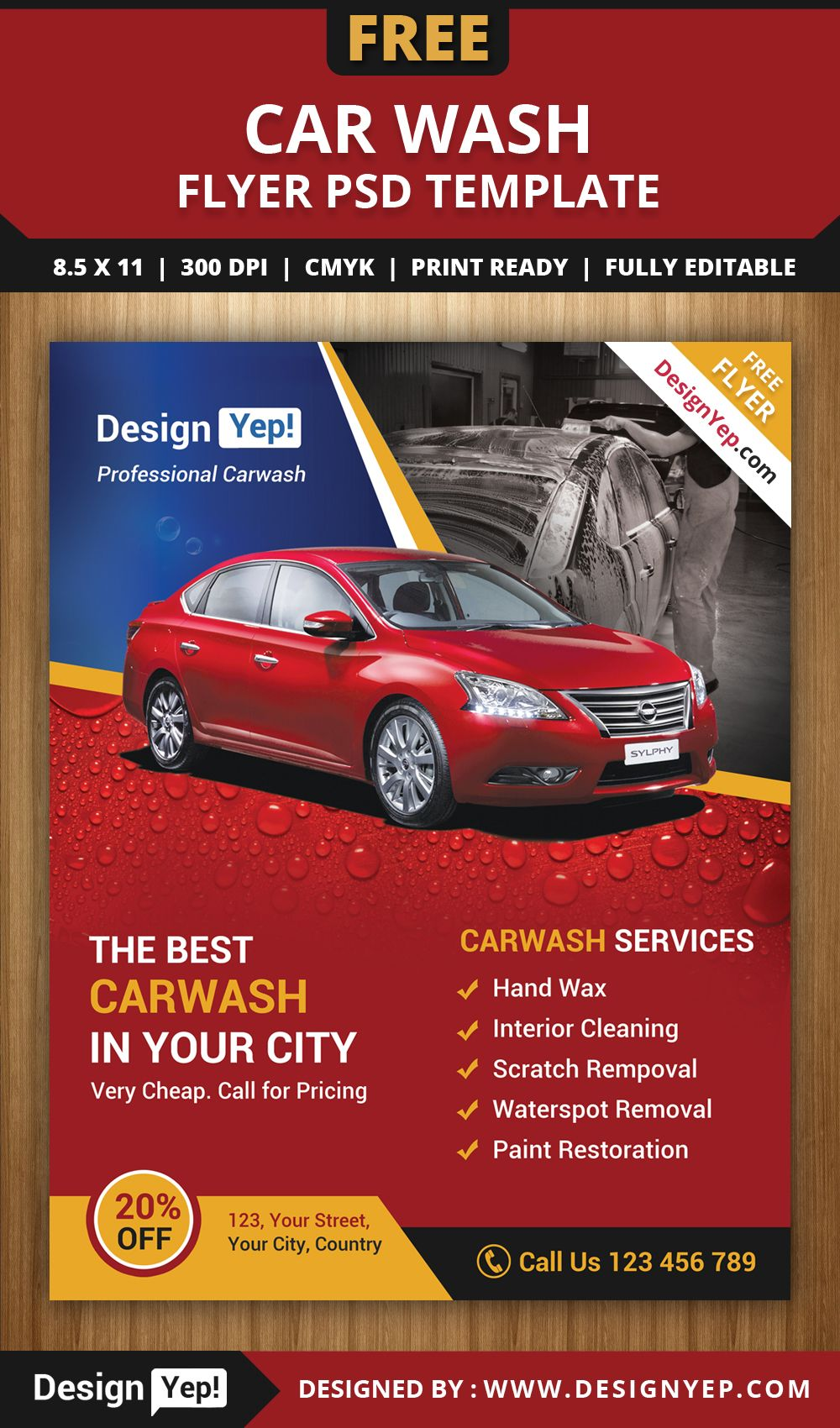 Free Car Wash Flyer PSD Template 3232 Designyep  Car Flyer Template