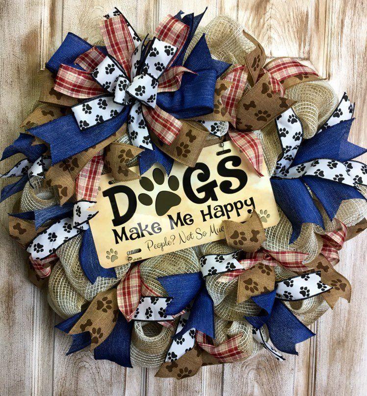 Dog wreath mesh wreath dogs make happy wreath dog lovers