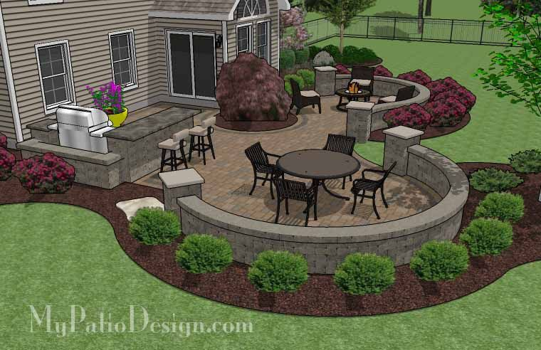 Large paver patio design with grill station bar plan for Large patio design ideas