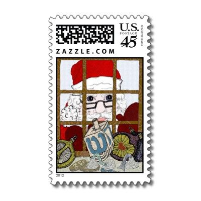 """The third version of the """"Look Who's Peeking"""" design created by the Artist Barbra Drasby adorns this holiday postage stamp. The mixed medium drawing is of a Santa Clause peeking into a window of a family celebrating the holiday season. To Santa's surprise this household is peacefully enjoying the spirit of both Christmas and Hanukkah in the warmth of their humble abode."""