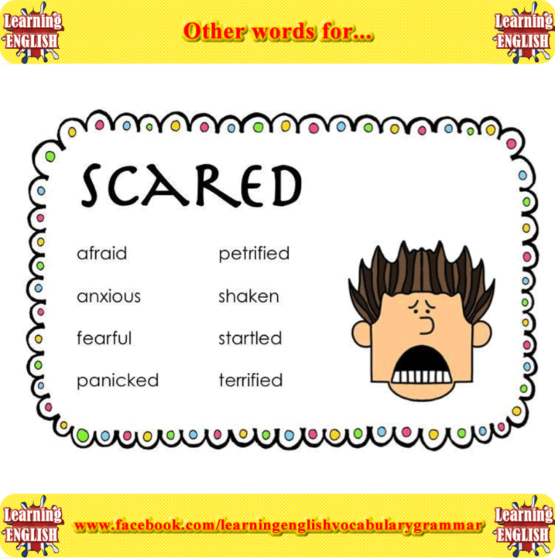 other words for scared learning basic english learning basic