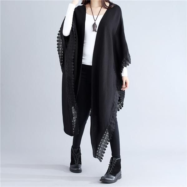 Elegant Women Bat Sleeves Lace Splicing Knitting Black Shawl Shirt