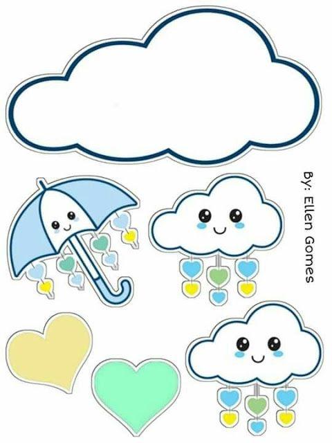 Topo De Bolo Chuva De Amor Para Imprimir Kids Stickers Baby