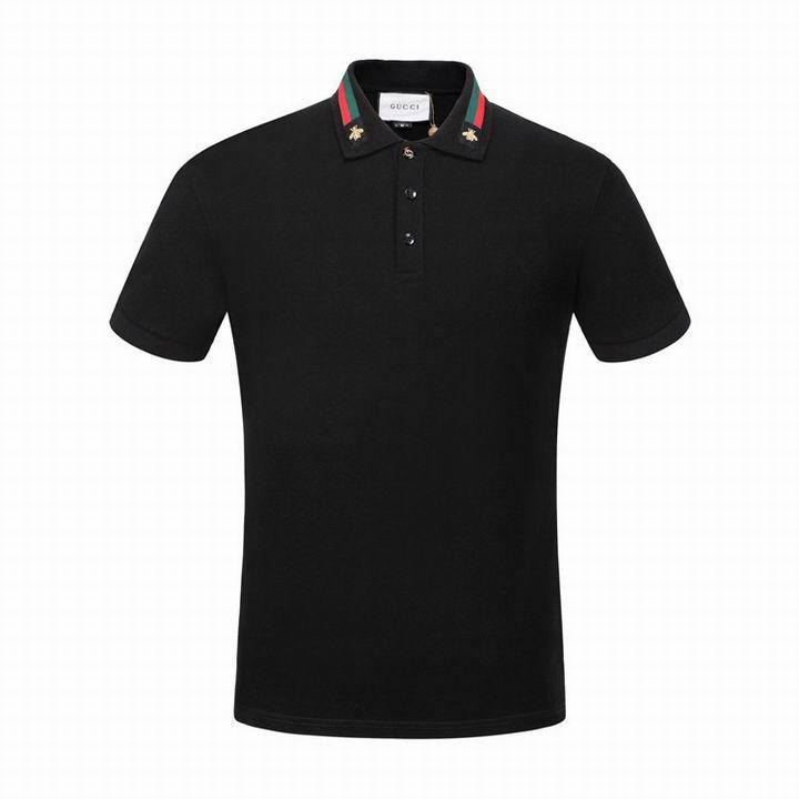d78a8edb171 Replica GUCCI Cotton polo with Web and bee Black 2017 Size M-3XL ...