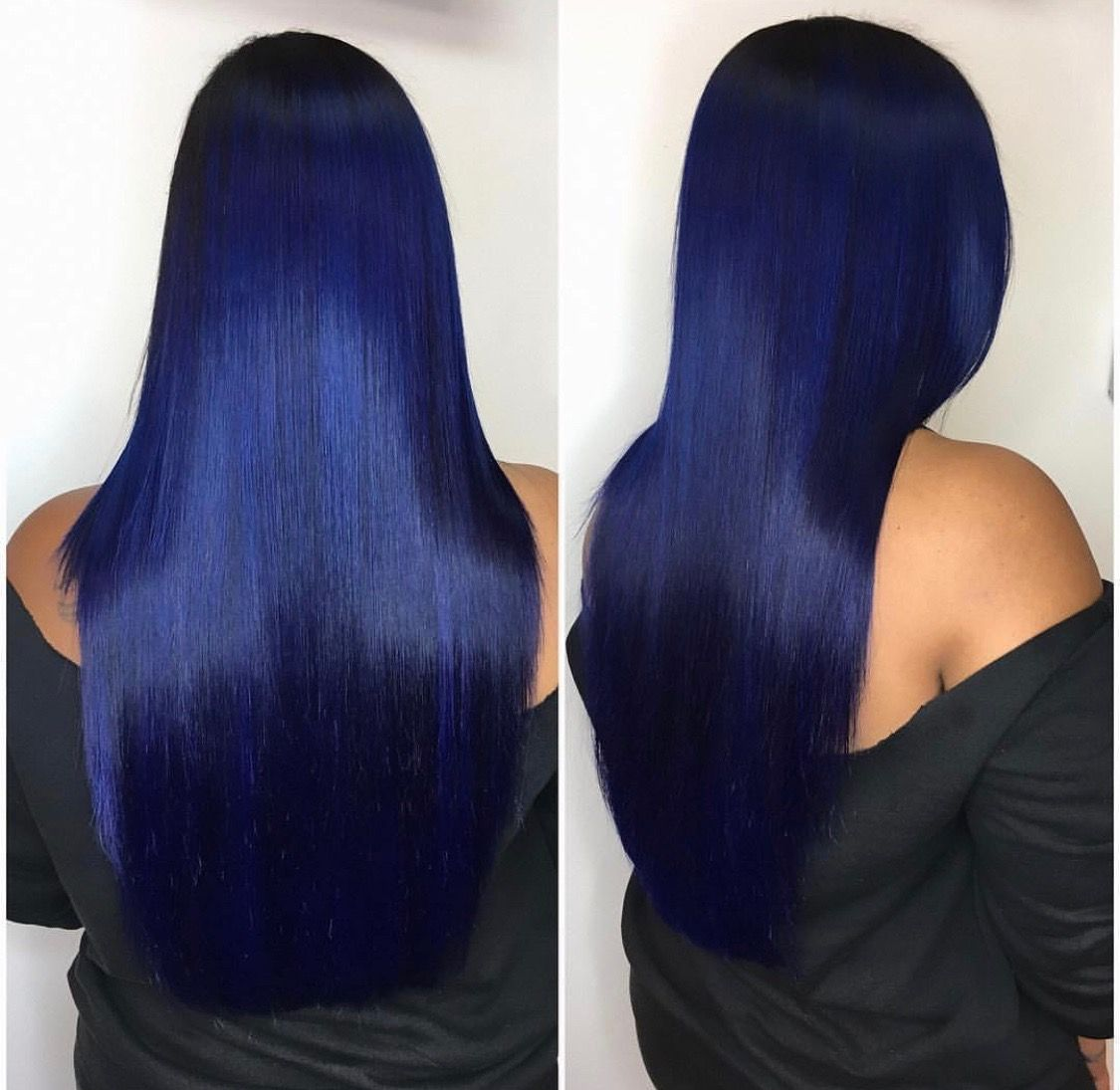 This Dark Blue Color Is Too Pretty Looking For Sew In Hair