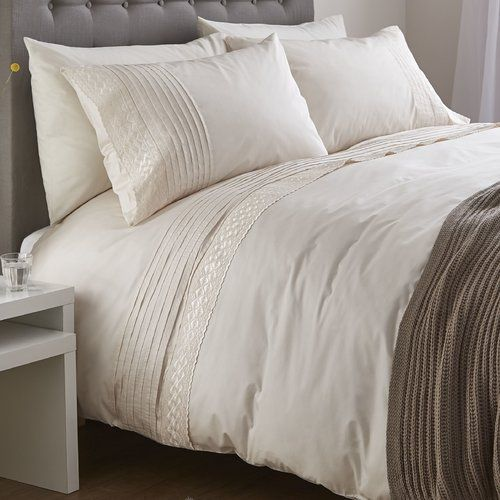 Catherine Lansfield Classic Lace Bands Cream Duvet Cover Set