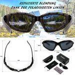 UV gesch/ützter faltbarer Rahmen Schwarz Verdster TourDePro POLARISIERTE Sonnenbrillen f/ür Herren und Damen verbesserter Angeln oder f/ür Motorrad komfortabler ideal zum Fahren
