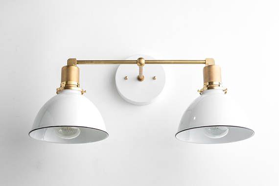 Bathroom Wall Light   Industrial Vanity Light   Brass Light Fixture   White  Shade   Vanity Fixture   Mirror Lighting