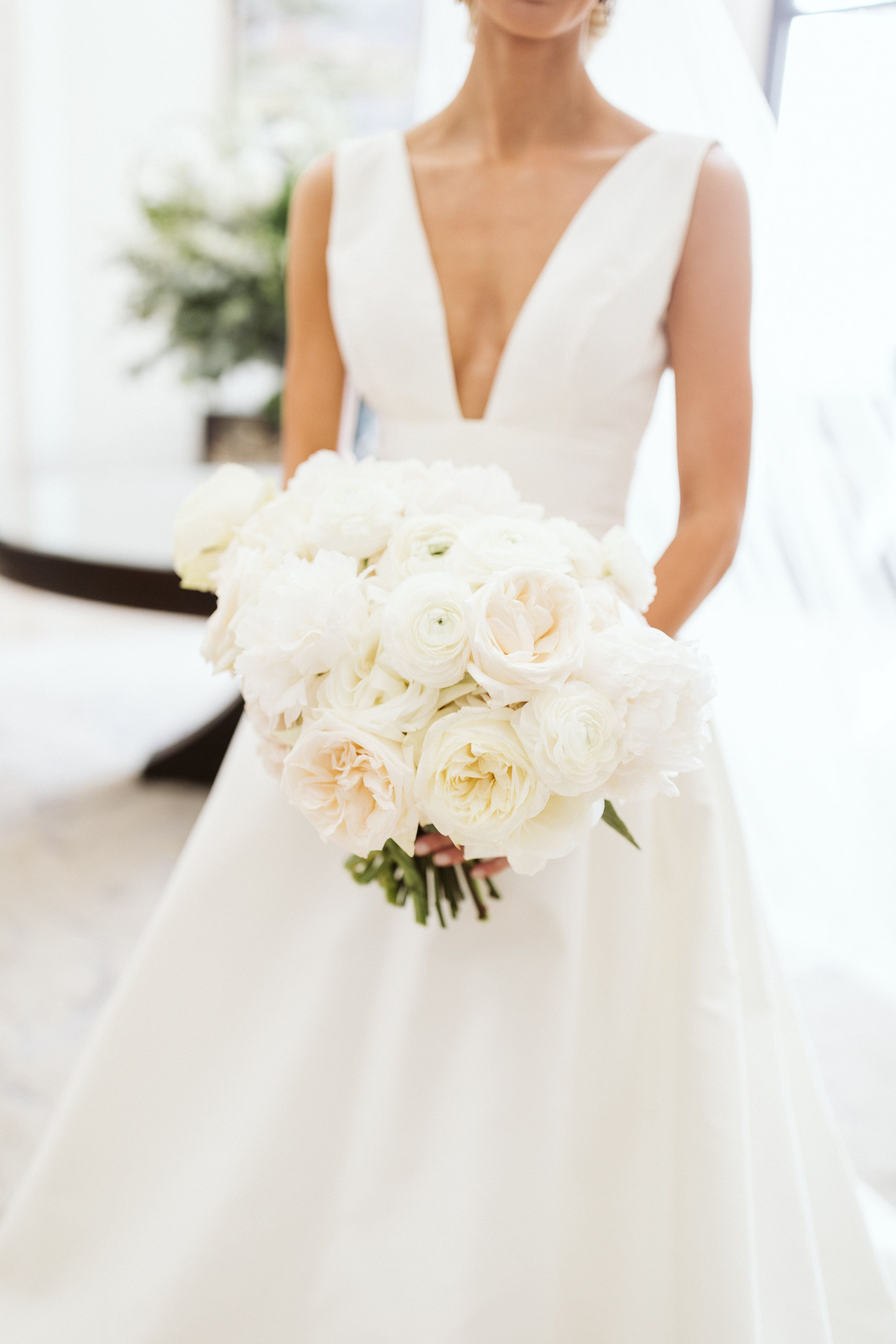 Classic And Timeless Large Structured White Bridal Bouquet Of