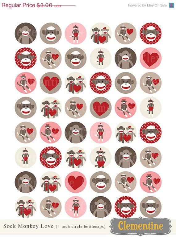 35% off sale Sock Monkey bottle cap images, bottlecap images, one inch circles - royalty-free, digital collage sheet- Instant Download on Etsy, $1.95