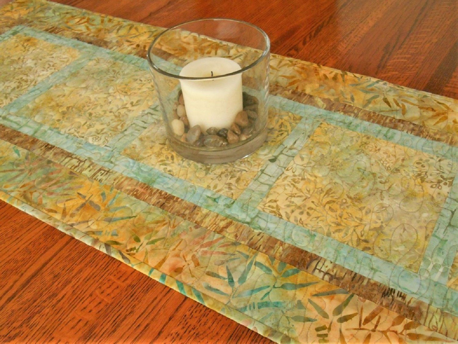 Quilted Table Runner In Yellow And Aqua Batiks Dining Table Decor Coffee Table Runner Bedroom D Batik Table Runners Coffee Table Runner Quilted Table Runner