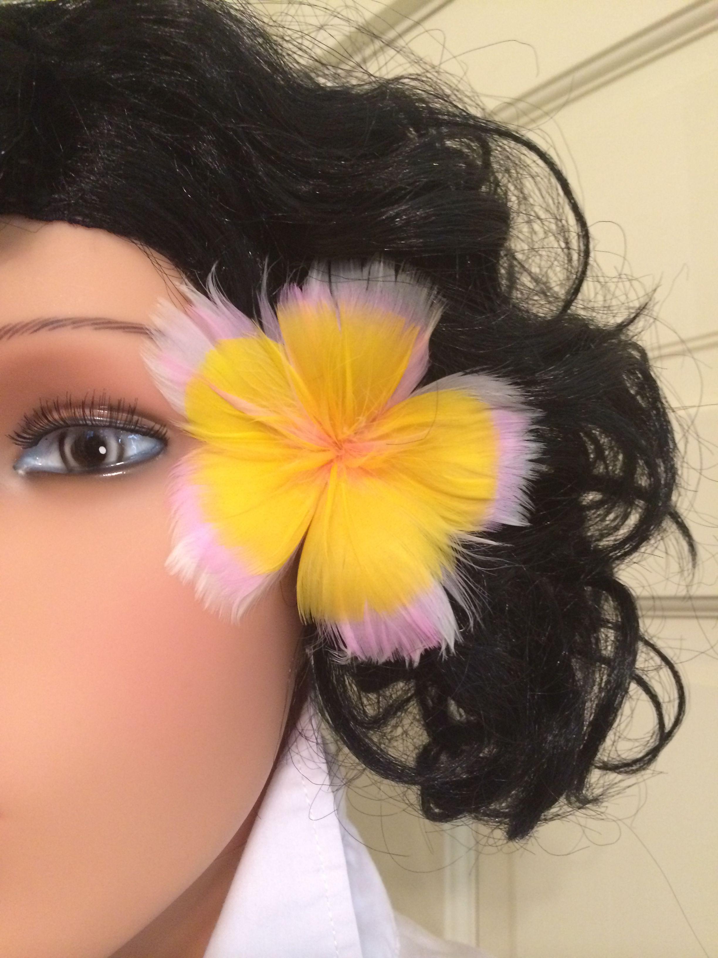 Tropical pink yellow plumeria feather flower ear pick 1000 tropical pink yellow plumeria feather flower ear pick izmirmasajfo