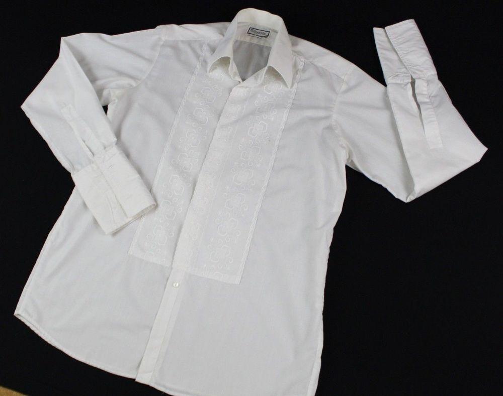 Rocola Shirt Men Collar 145 Floral Embroidered Dress White Formal