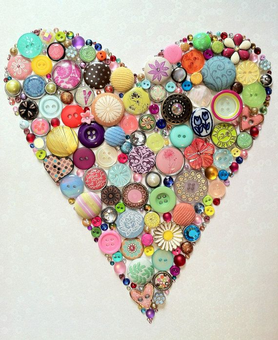 Heart Valentine's Day Gift Button and Swarovski Crystal Art by BellePapier