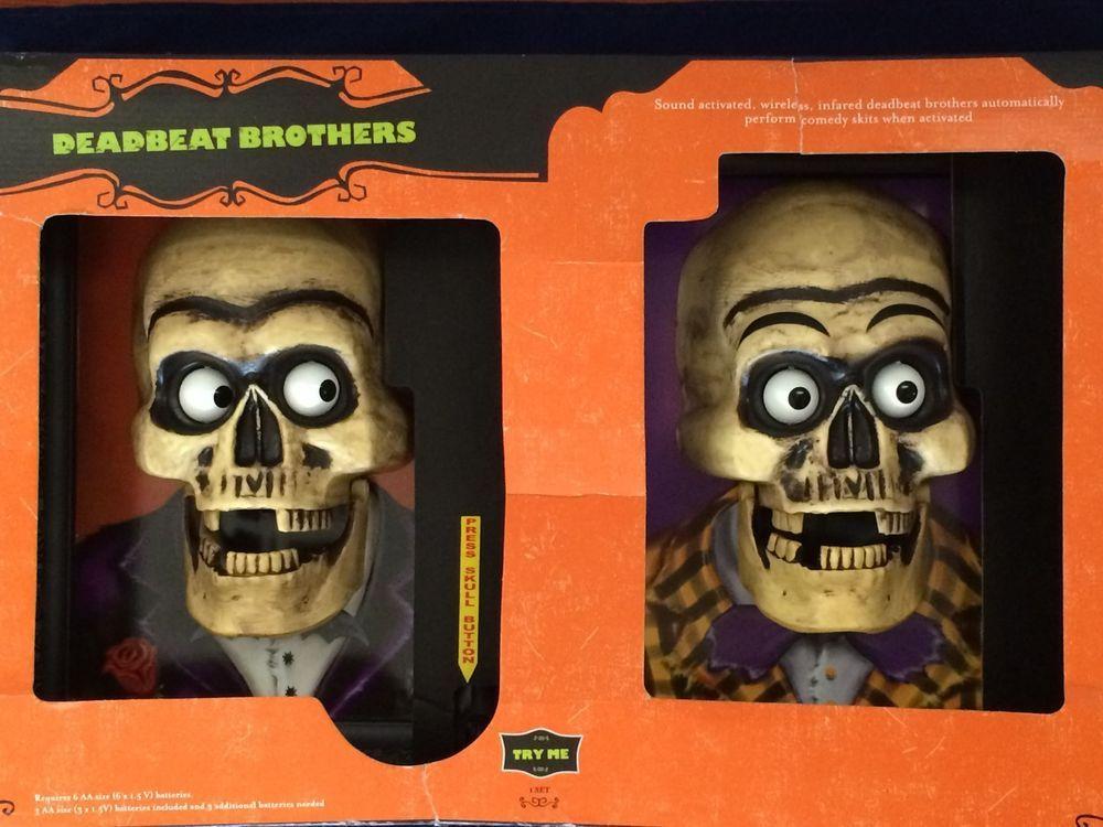 interactive talking skeleton heads animated framed portraits nib deadbeat bros deadbeathalloween decorationsskeletonskull