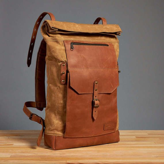 4827a444c22 Yellow waxed canvas leather backpack. Roll top canvas leather bag ...