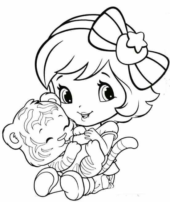 Baby Strawberry Shortcake Reading to teddy bear Coloring pages - best of valentines day coloring pages with dogs