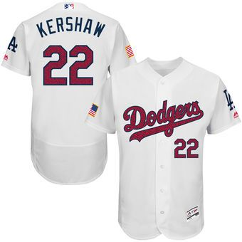 Los Angeles Dodgers Clayton Kershaw Majestic Fashion Stars & Stripes  FlexBase Player Jersey - White
