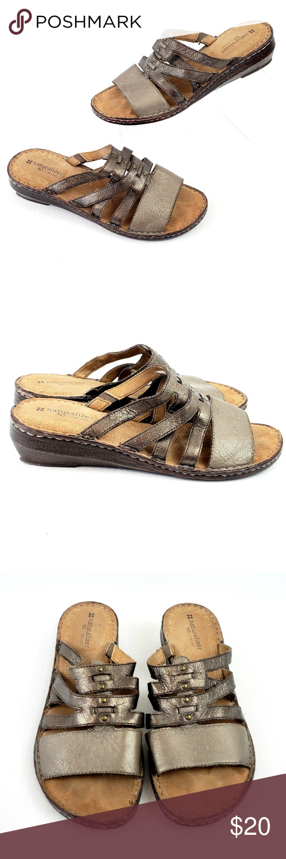 Naturalizer comfort wedge sandal Bronze-gold 10 Naturalizer comfort Low wedge slide strappy sandal Women's size 10 Gently used condition (I have toooooo many shoes-clearing out my closet) Soft comfortable foot bed.  Bronze-Gold color. selling from a smoke-free home *Remember to check out my closet and Bundle to $ave :) Naturalizer Shoes Wedges #lowwedgesandals Naturalizer comfort wedge sandal Bronze-gold 10 Naturalizer comfort Low wedge slide strappy sandal Women's size 10 Gently used condition #lowwedgesandals