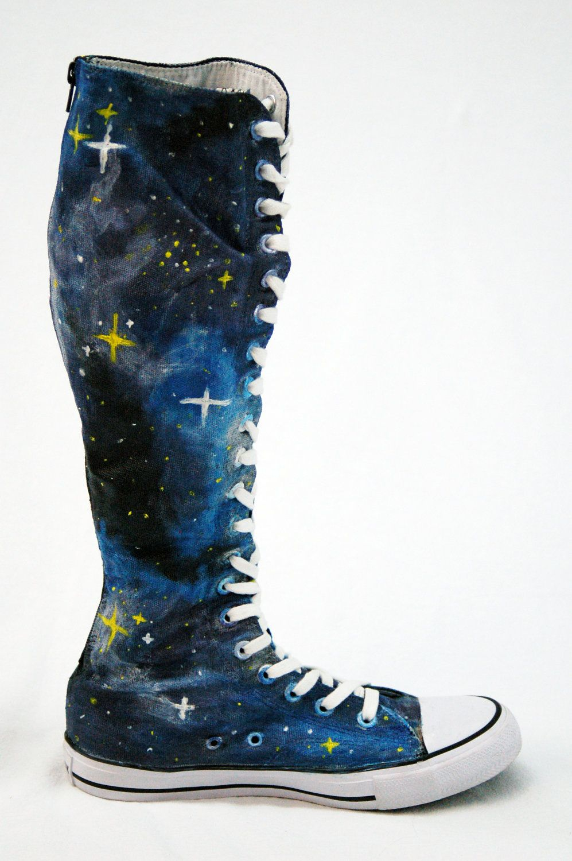 65284fbfc5d Galaxy Converse Knee Highs by SBFW on Etsy