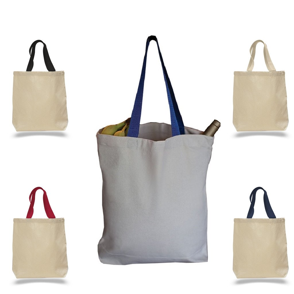 f106918ea7 These durable tote bags are made out of 100% canvas sheeting and reinforced  at stressed points for a heavy-duty   sturdy bag. The colored handles and  ...