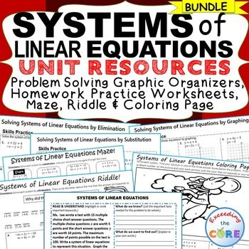 Systems Of Linear Equations Homework Practice Graphic
