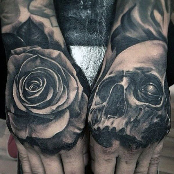 A Bloom Of Manly Design Ideas: 80 Skull Hand Tattoo Designs For Men