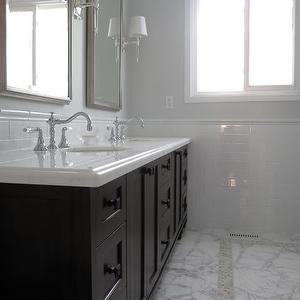 Redroze S Renos Bathrooms Gray Walls Gray Paint Gray Paint Colors Espresso Double Vanity Espresso Double Bath Marble Bathroom Grey Bathrooms Grey Walls