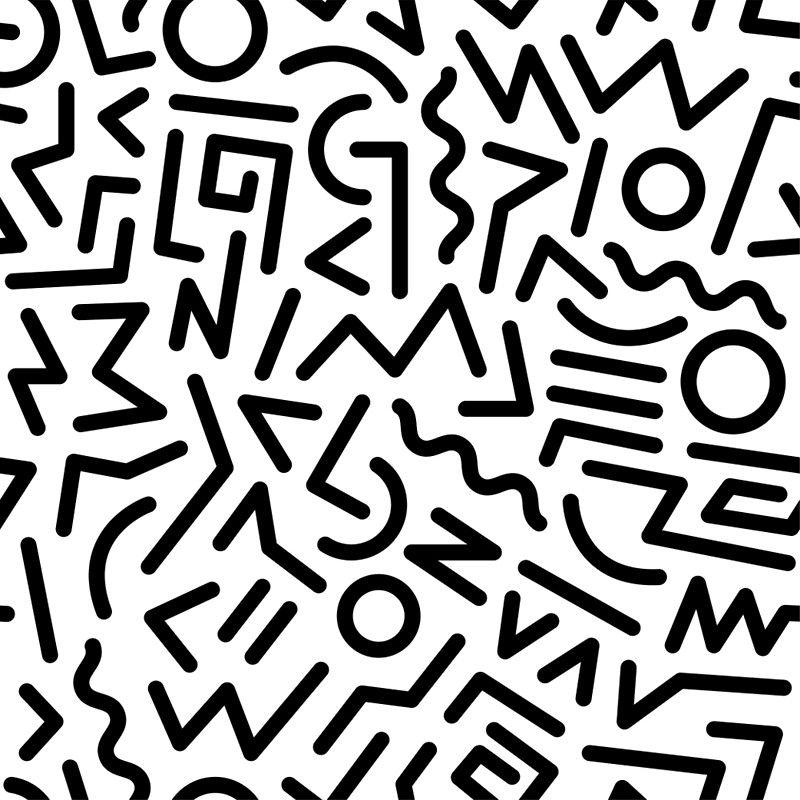'Memphis Pattern Black and White' Art Print by junkydotcom #memphisdesign