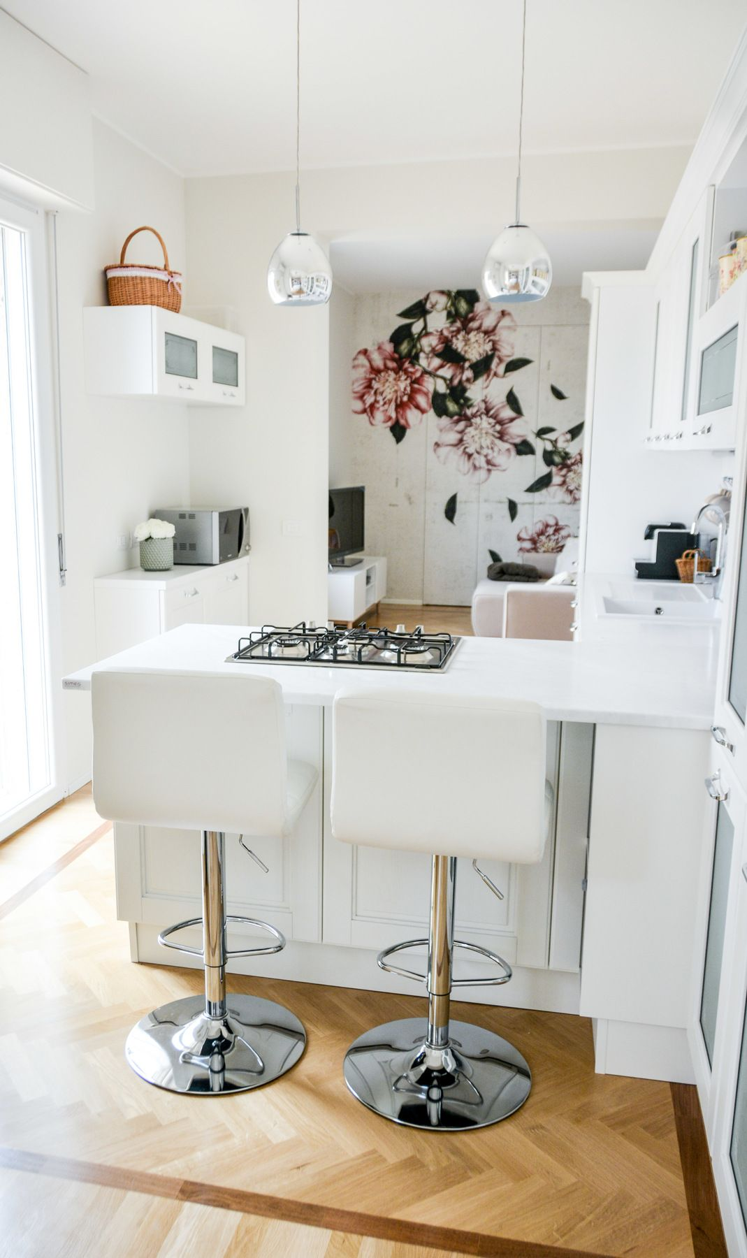 White interior, Wall & Decò wall paper, white kitchen