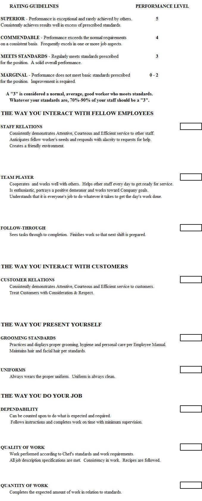Job Performance Evaluation Form Templates Employee Evaluation Template For Restaurants Artisteer Web Design .
