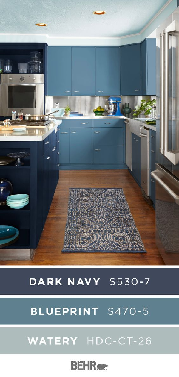 Get Inspired By The Monochromatic Style Of This Blue Painted Kitchen A New Coat Of Behr P Color Palette Living Room Painted Kitchen Cabinets Colors Behr Paint