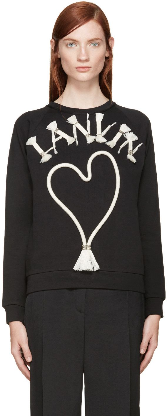 Lanvin Black Rope & Crystal Logo Sweatshirt | VVV in 2019 ...