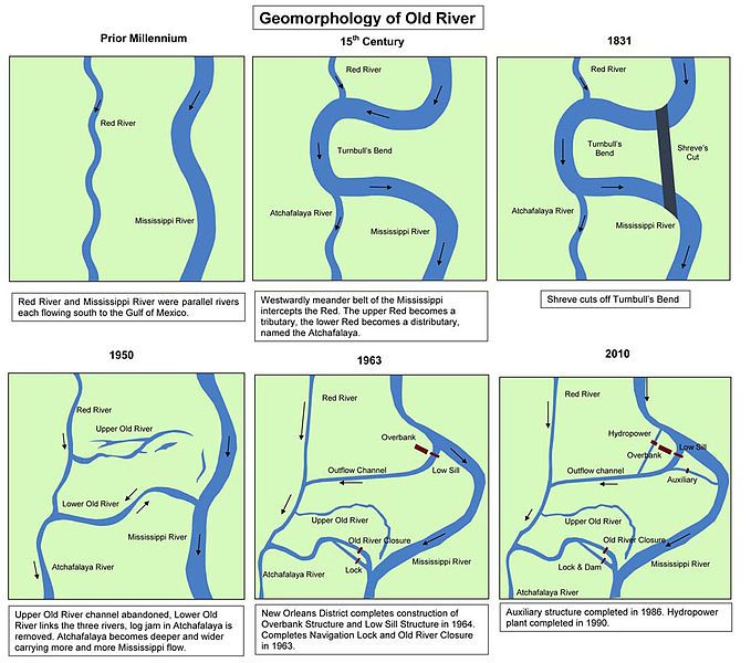 Maps showing the history of the course of the Mississippi river at ...