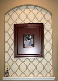 Wall Niche Decor entryway niche in master bedroom with stencil! @mary pendergast
