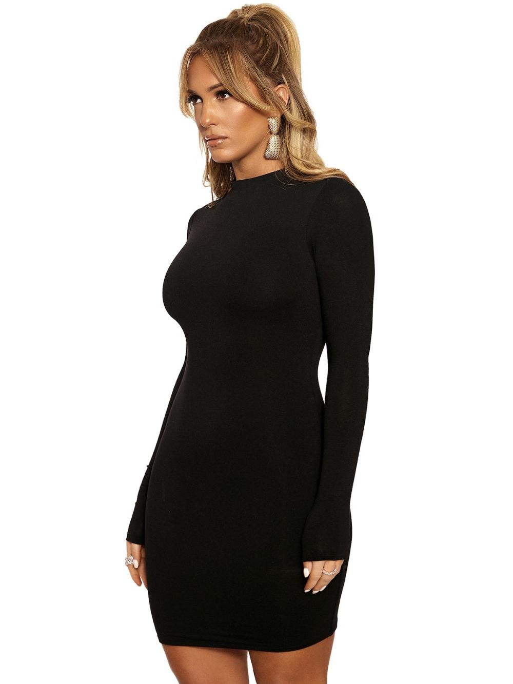 The Nw Mini Black Long Sleeve Dress Long Sleeve Fitted Dress Winter Mini Dresses [ 1333 x 1000 Pixel ]